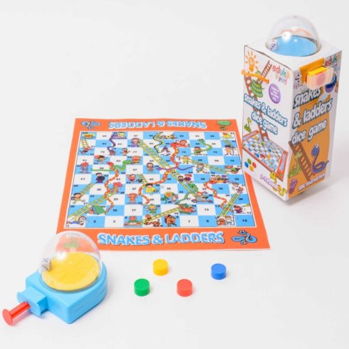 Eduk8 Worldwide   Traditional Mini Travel Snakes & Ladders Game, with Mini Dice Dome. Never lose your dice again!