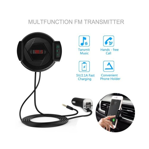 3-in-1 Car Bluetooth 4.1 HiFi FM Transmitter kit for car- with Air Vent Mount Holder Cradle for iphone Samsung and android Smartphones, 5V/2.1A USB...