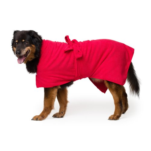 Toby and Alexander Super Absorbent, Quick Drying Dog Bathrobe (X Large, Red)