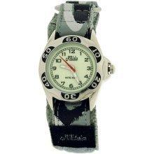 Relda Kids Nite-Glo Luminous Dial Grey Camouflage Army  Velcro Boys Watch REL65