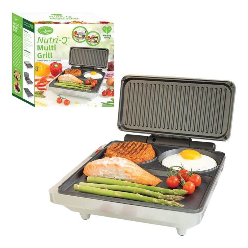 Nutri-Q Non Stick Thermostatically Controlled Compartmentalized Fold Out Electric Multi Grill and Griddle, 1000 W, Grey