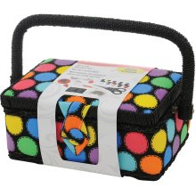 "Singer Sewing Basket-7.25""X3.5""X5"" Bright Dots"