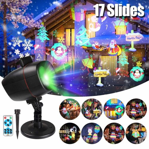 Christmas Projector Lights, infinitoo 17 Patterns Rotating Snowflake Projector Spotlight, Waterproof Outdoor Landscape Lights Festival Use-...