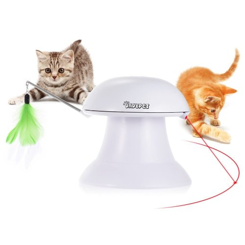 DADYPET Cat Interactive Toy, Interactive Play 2 in 1 Automatic 360° Rotating Light Interactive Feather, Pet Entertainment Intelligence Fun with...