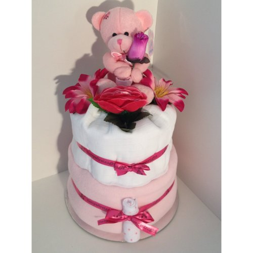 2 Tier Luxury Baby Girl Nappy Cake with It's a Girl Teddybear