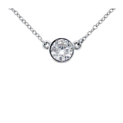 Round Bezel Set 0.75 Carat Diamond Pendant Necklace With Chain 14K Gold