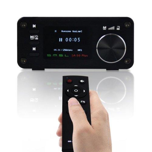Gemtune SMSL SA-50 PLUS TAS5766M 50w*2 3in1 HIFI Amplifier & DAC & Music Player w/ Remote Control, OLED Display, USB/SD Reader, 3.5mm AUX & Optical...