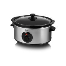 Swan Silver Stainless Steel Slow Cooker 6.5L
