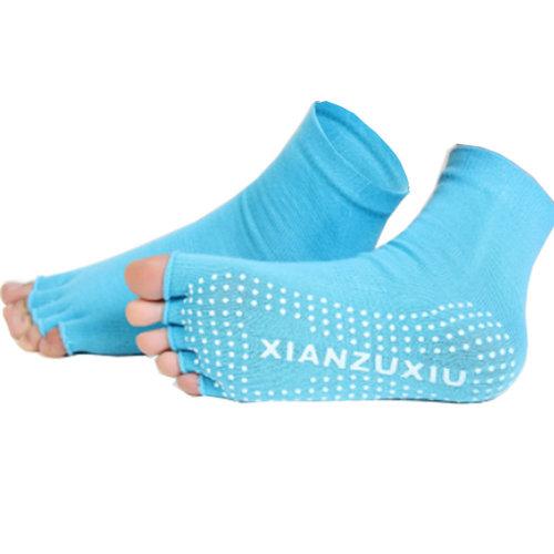 Women's Non-Slip Half Toe Yoga Socks With Grip 2 Pairs Set,Blue