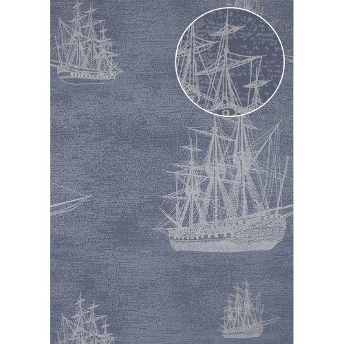 Atlas SIG-584-3 Graphic wallpaper metallic highlights blue silver 5.33 sqm