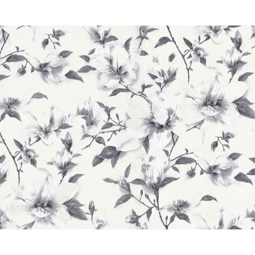 EDEM 9080-20 Flowers non-woven wallcovering shimmering white grey 10.65 sqm