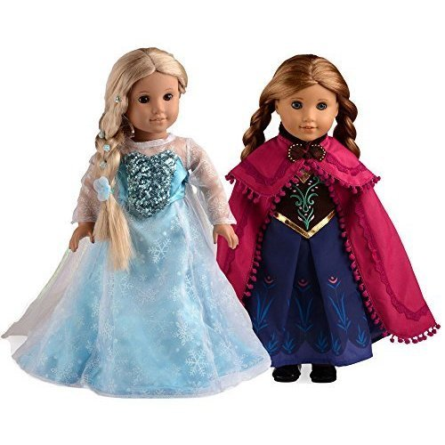 Sweet Dolly Elsa and Anna Princess Costumes For 18 Inch American Girl Doll