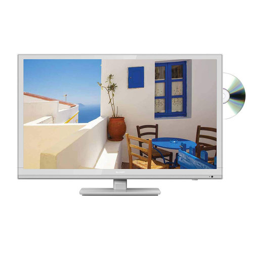 "Sharp 24"" HD LED TV with Freeview HD and DVD player - White"