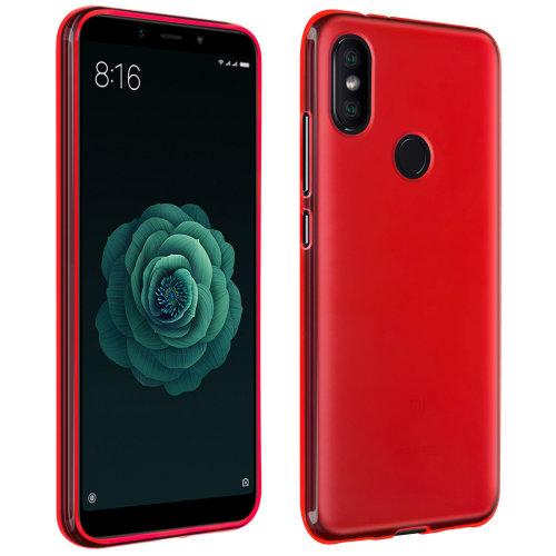 low priced 5b4e0 7e299 Silicone case Glossy & matte back cover for Xiaomi Mi A2 - Red
