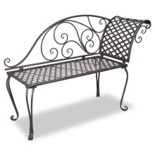 vidaXL Metal Garden Chaise Lounge Antique Brown Scroll-patterned