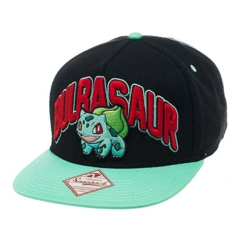 Pokemon Unisex Bulbasaur Snapback Baseball Cap One Size - Black/Turquoise