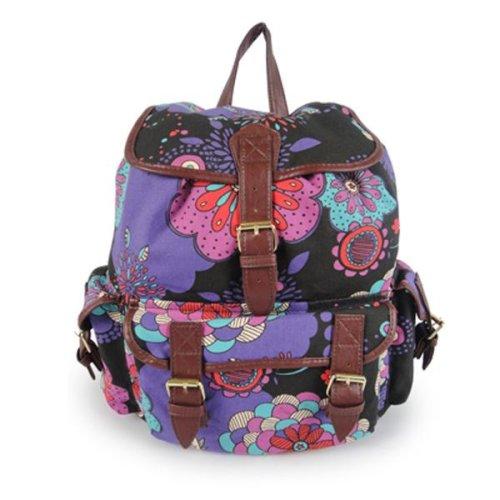 Miss K. Vintage Collection Stylish Canvas Backpack - Birdie Black