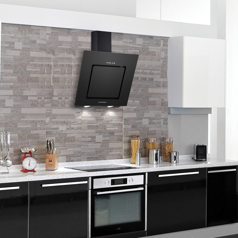 Kitchen Extractor Fan: CIARRA 60cm Angled Cooker Hood Glass Wall Mounted Chimney