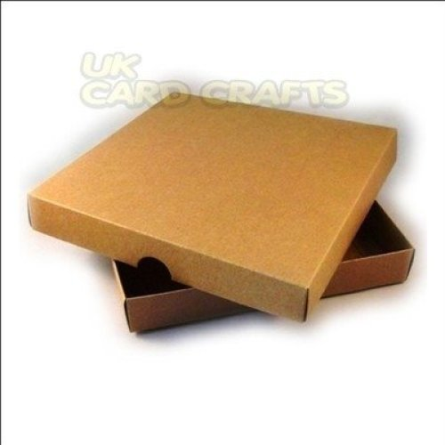 """4 x Brown Kraft 8""""x8"""" Square Boxes For Handmade Greeting Cards"""
