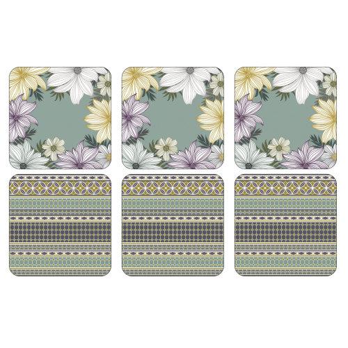 Pimpernel Atrium Floral Coasters, Set of 6