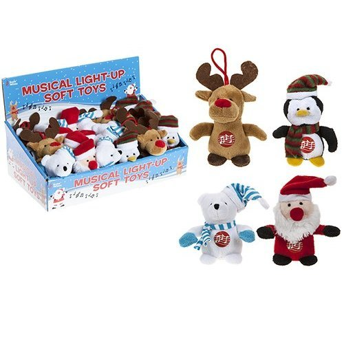 9cm Musical Light Up Plush 24pc Cdu. 4 Assorted. Xmas Des -