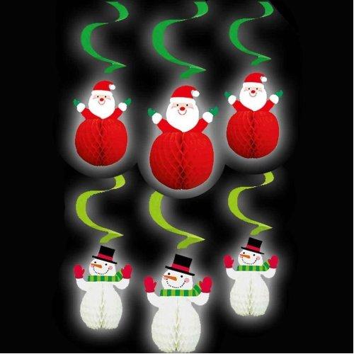 Christmas Snowmen Decorations.6 Novelty Christmas 3d Honeycomb Hanging Decorations Santa Snowman