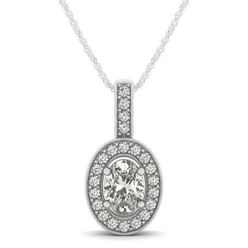 Oval & Round Diamonds 1.50 Carats Pendant Necklace Without Chain Gold 14K