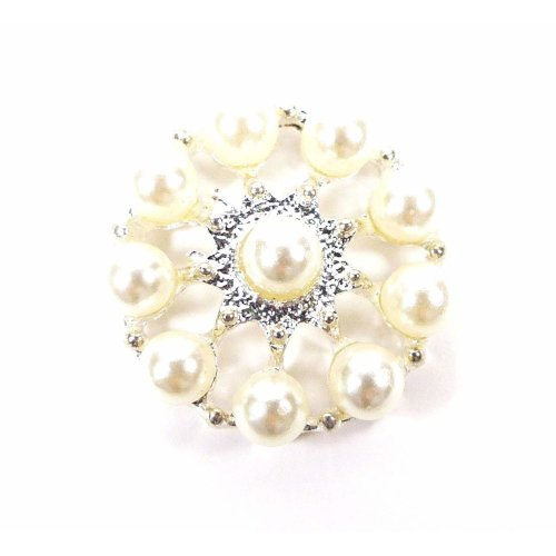 10 x Round Carousel Shaped Pearl Cluster Embellishments Flat Back Gems, Great For Crafts