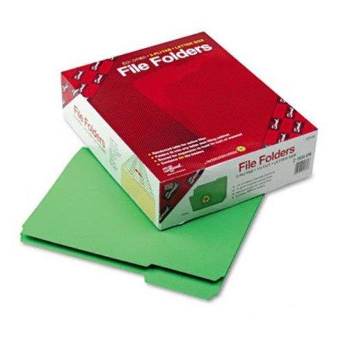 Smead 12134 File Folders- 1/3 Cut- Reinforced Top Tab- Letter- Green- 100/Box