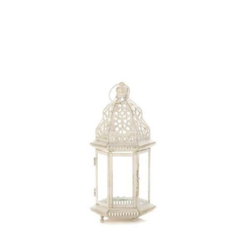 Home Locomotion 849179027063 Distressed Lantern, White - Small