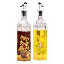 2PCS Beautiful Glass Cruet Oil Bottle Vinegar Bottle Oil Container, NO.3