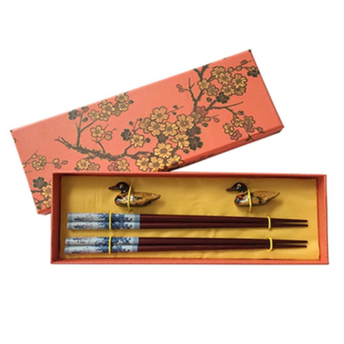 Chopsticks Reusable Set - Asian-style Natural Wooden Chop Stick Set with Case as Present Gift,R