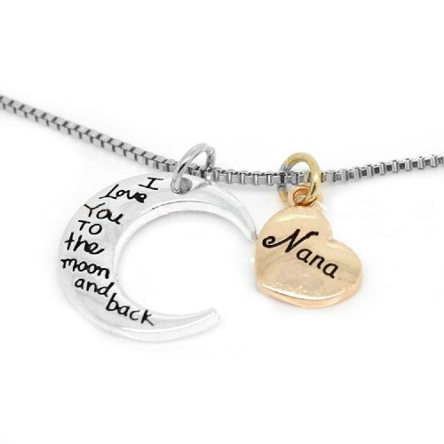 Silver-Tone 'Nana I Love You To The Moon And Back' Engraved Pendant Necklace 2.0 x 2.0cm With 18 Inch Chain Nan
