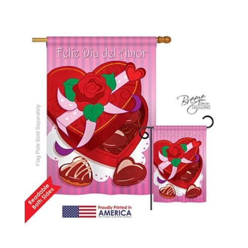 Breeze Decor 01045 Valentines Feliz Dia del Amor 2-Sided Vertical Impression House Flag - 28 x 40 in.