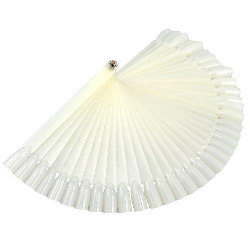 Trixes 50 False Nail Art Tips Sticks Display Fan Board Polish Practice White