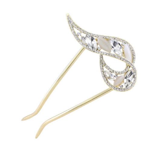 U-shaped Hairpin,Retro Women Girls Rhinestone Hair Pin Hair Stick#E