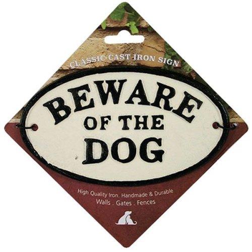 Gate Door Sign Beware of the Dog Cast Iron Oval Sign Garden Gate Fence Door Wall