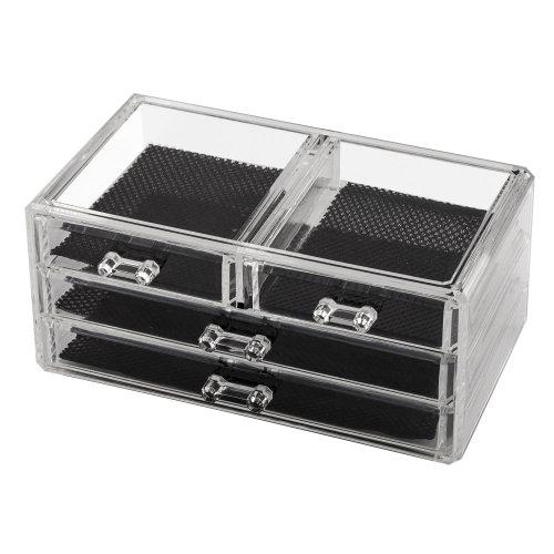 TRIXES Clear Acrylic Cosmetic Jewellery Box Nail Art Organiser