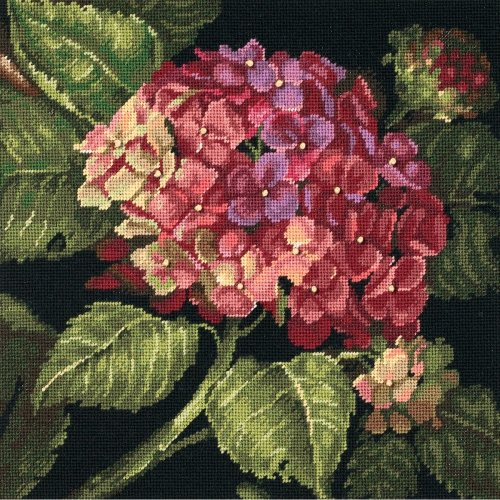 "Dimensions Needlepoint Kit 14""X14""-Hydrangea Bloom Stitched In Wool"