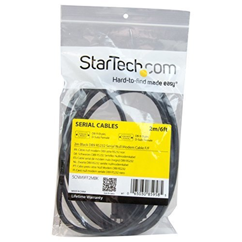 StarTech com DB9 RS232 Serial Null Modem Cable F F DB9 Female to Female 9 Pin RS232 Null Modem Cable 2 Meter Black SCNM9FF2MBK