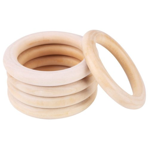 Zerodis 10Pcs Natural Wood Teething Rings Baby Infant Teether,Wooden Bracelet Necklace DIY Craft