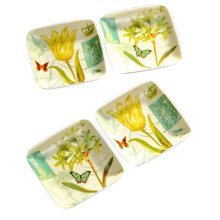 Set Of 4 Tasting Square Dishes Set Ceramic Dipping Sauce Dishes,Butterfly&Flower
