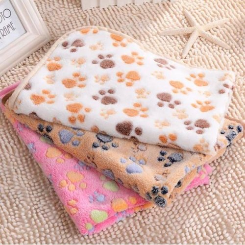 Pet Paw Print Dog Puppy Cat Soft Fleece Blanket Bed Mat Winter