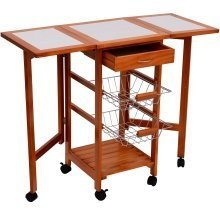 Homcom Kitchen Table Trolley Wooden Storage Shelves Freestanding  W/ 6 Wheels & 2 Metal Baskets