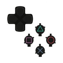ZedLabz replacement genuine OEM d-pad & action button set for Sony PS4 controllers - black