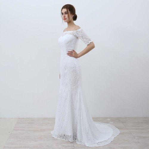 White Vintage Lace Cheap Mermaid Wedding Dresses 2017 Off the Shoulder Half Sleeves Wedding Gowns vestidos de novia