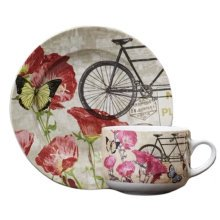 Hand-Drawn English Elegant& Romantic Style Coffee Cup Tea Cup With Dish