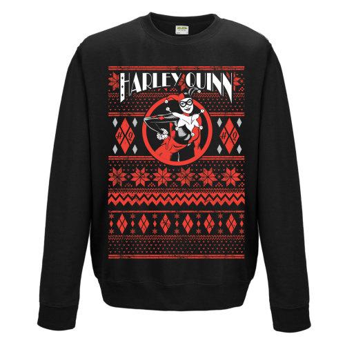 Large Adult's Harley Quinn Christmas Jumper -  harley quinn dc comics christmas sweater sweatshirt fair isle new crewneck official mens black
