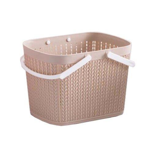 Bath Storage Basket Plastic Storage Basket with Handles ?Khaki?