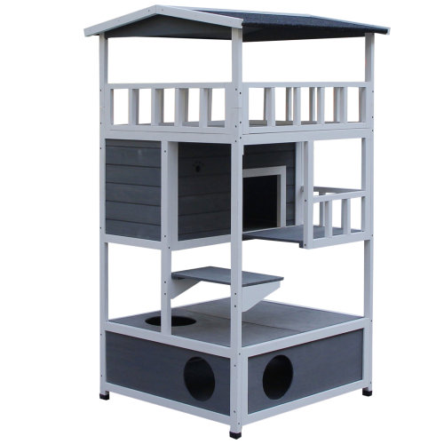 PawHut Cat House 3-Tier w/ Tilted Roof Bottom Tray Elevated Base Waterproof